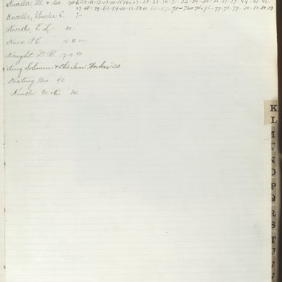 Bill Book No. 2, Index K