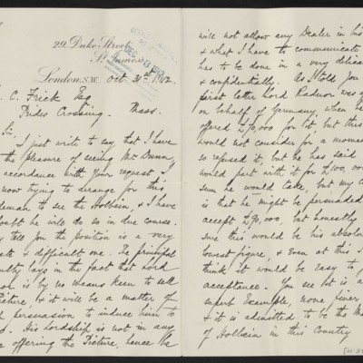 Letter from H. Silva White to H.C. Frick, 31 October 1912 [page 1 of 2]