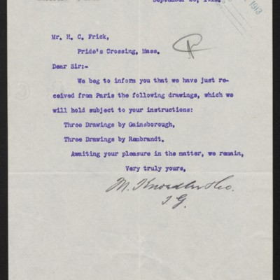 Letter from M. Knoedler & Co. to Henry Clay Frick, 26 September 1913