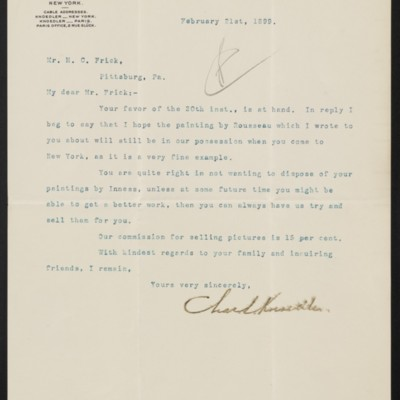 Letter from Charles L. Knoedler to Henry Clay Frick, 21 February 1899