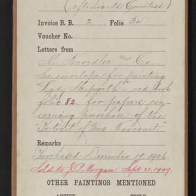 """Red envelope for Reynolds' """"Portrait of Mrs. Harcourt,"""" 1906, 1909"""