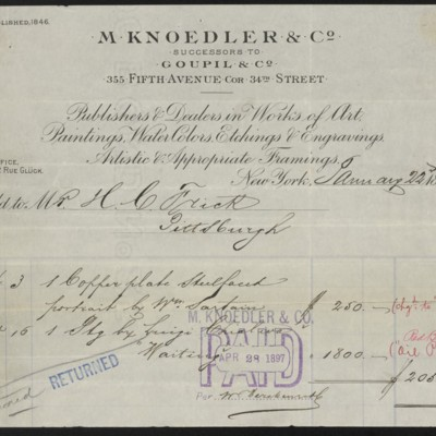 M. Knoedler & Co. Invoice, 22 January 1897