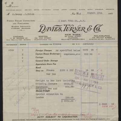 Invoice from Davies, Turner & Co. to Henry C. Frick, 13 August 1919