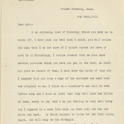 Letter from Joseph Holroyd to F.W. McElroy, 20 May 1911