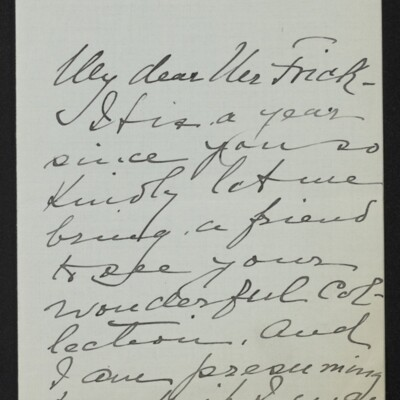 Letter from Clara T. MacChesney to [H.C.] Frick, 17 January 1918 [page 1 of 3]