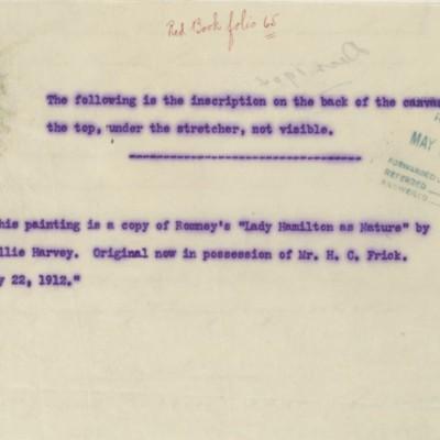Note regarding copy of Romney painting, circa 1912?