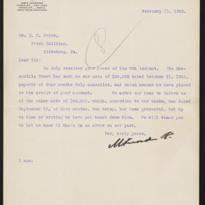 Letter from M. Knoedler & Co. to Henry Clay Frick, 11 February 1903