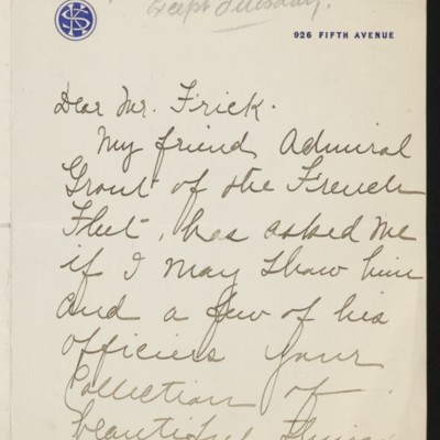 Letter from Kate Simpson to [H.C.] Frick, 26 January 1919 [page 1 of 3]