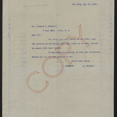 Letter from A. Braddel to William J. McGuire, 11 May 1918