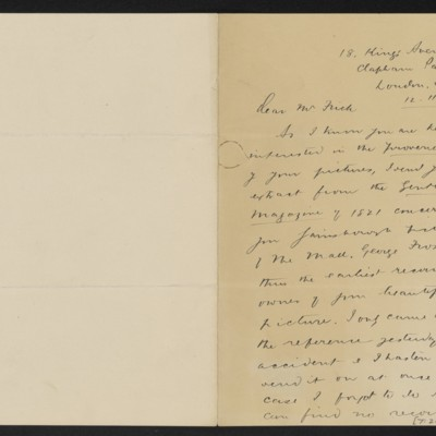 Letter from W. Roberts to [Henry Clay Frick], 12 November 1919, with enclosure