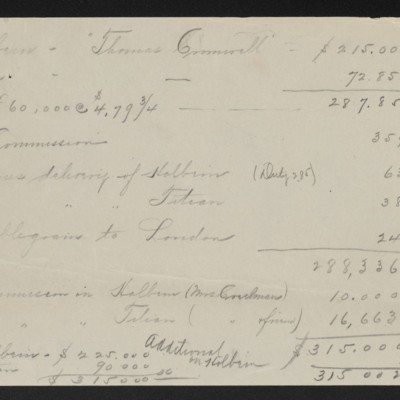 Expense summary for Holbein and Titian paintings purchased through Alice Creeman, [1915]