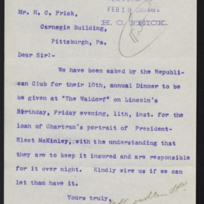 Letter from M. Knoedler & Co. to Henry Clay Frick, 9 February 1897