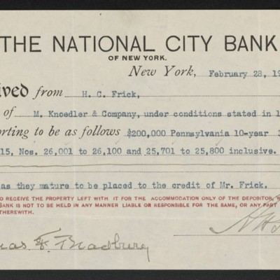 Receipt from National City Bank to Henry Clay Frick, 28 February 1908