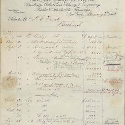 Account Statement from M. Knoedler & Co., 2 January 1902