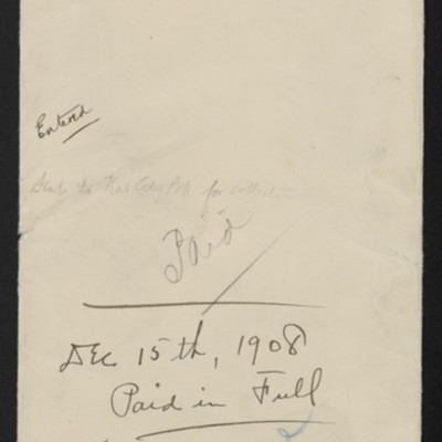 Envelope with details of M. Knoedler & Co. note, 1908