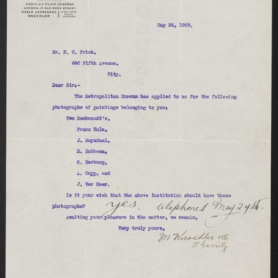 Letter from M. Knoedler & Co. to Henry Clay Frick, 26 May 1909