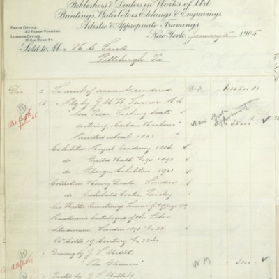 Account statement from M. Knoedler & Co., 3 January 1905