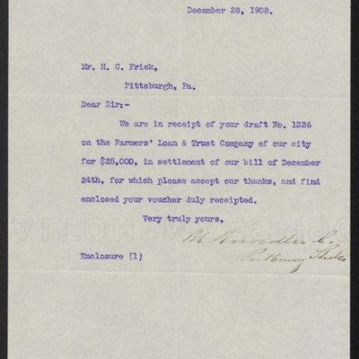 Letter from M. Knoedler & Co. to Henry Clay Frick, 28 December 1908