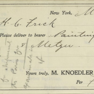 Receipt prepared by M. Knoedler & Co., 8 May 1911