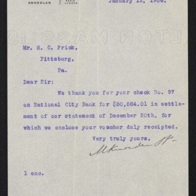 Letter from M. Knoedler & Co. to H.C. Frick, 12 January 1906