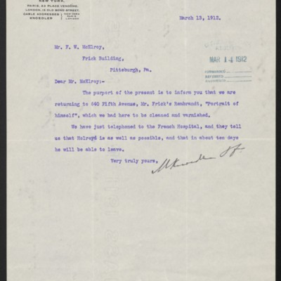 Letter from M. Knoedler & Co. to F.W. McElroy, 13 March 1912