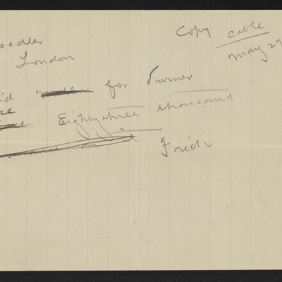 Draft of cable from [Henry Clay] Frick to M. Knoedler & Co., 27 May 1909 [front]