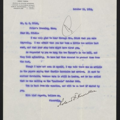 Letter from Roland F. Knoedler to H.C. Frick, 15 October 1914