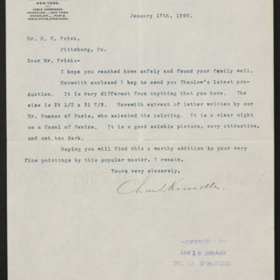 Letter from Charles L. Knoedler to Henry Clay Frick, 17 January 1899