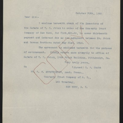 Letter from C.F. Chubb to G.T. Scherzinger, 30 October 1920