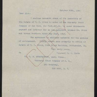 Letter fromC.F. Chubbto G.T. Scherzinger, 30 October 1920