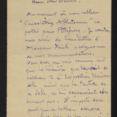 Letter from Dagnan-Bouveret to Edmond Simon, 5 December 1900 [page 1 of 3]