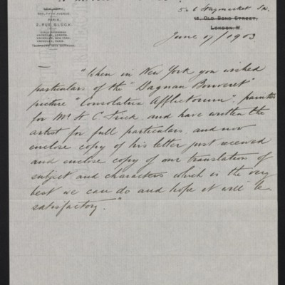 Copy of a letter from Arthur Tooth & Sons to M. Knoedler & Co., 1 June 1903