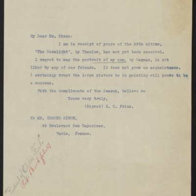 Letter from Henry Clay Frick to Edmond Simon, 9 January 1900