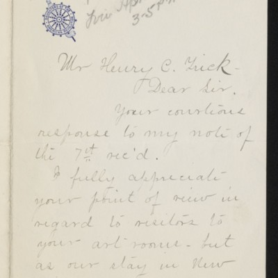 Letter from Mrs. Grenville L. Smith to Henry C. Frick, 15 April 1919 [page 1 of 2]