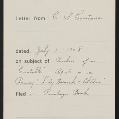 Memorandum, Office of Henry Clay Frick, 3 July 1908