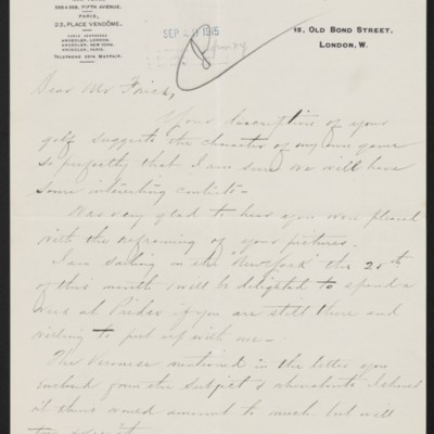 Letter from Charles S. Carstairs to Henry Clay Frick, 10 September 1915