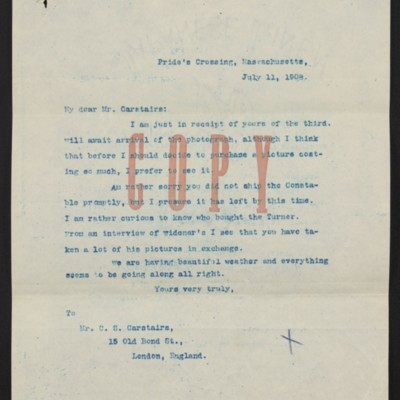 Letter from [Henry Clay Frick] to Charles S. Carstairs, 11 July 1908