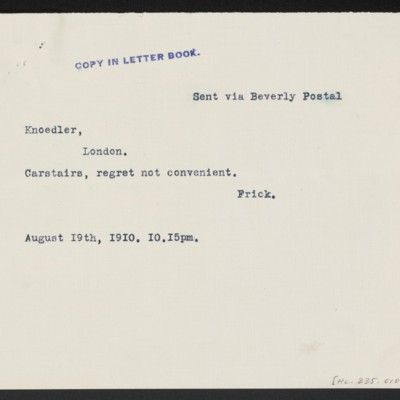 Transcript of cable from Henry Clay Frick to M. Knoedler & Co., 19 August 1910