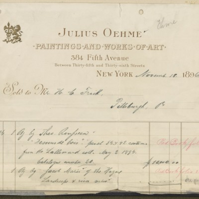 Julius Oehme Invoice, 18 November 1896