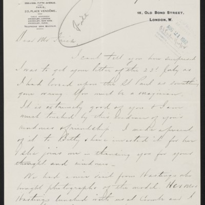 Letter from Charles S. Carstairs to Henry Clay Frick, 9 August 1912
