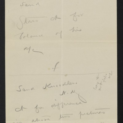 Memo by [Henry Clay Frick] regarding issuing of checks, circa October 1909
