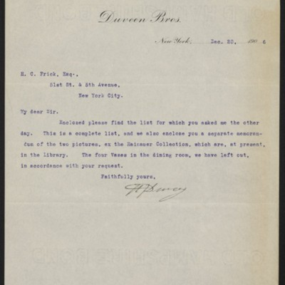 Letter fromH.J. Duveen to Henry Clay Frick, with enclosure, 20 December 1906