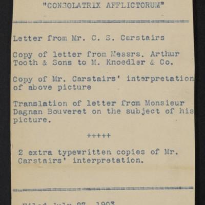 "Envelope No. 47, for documents regarding Dagnan-Bouveret's ""Consolatrix Afflictorum,"" 1903"