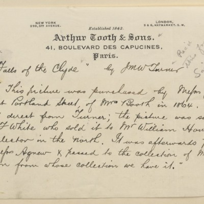 Memorandum from Arthur Tooth & Sons, July 1898