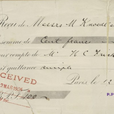 M. Knoedler & Co. Receipt, 12 March 1904