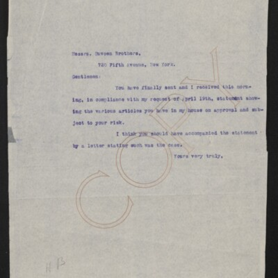 Letter from [H.C. Frick] to Duveen Brothers, 7 May 1919