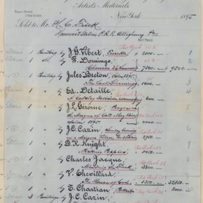 M. Knoedler & Co. Invoice, 1895