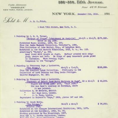 M. Knoedler & Co. Invoice, 5 December 1914