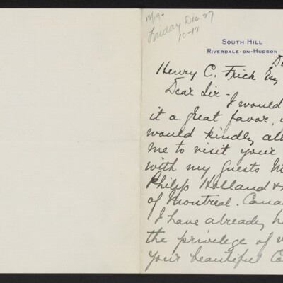 Letter from Frederick Allien to Henry C. Frick, 18 December 1918 [page 1 of 2]