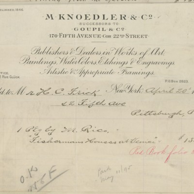 M. Knoedler & Co. Invoice, 20  April 1895